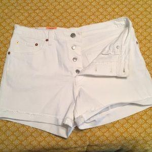 Levi's Original Fit 501 white denim shorts